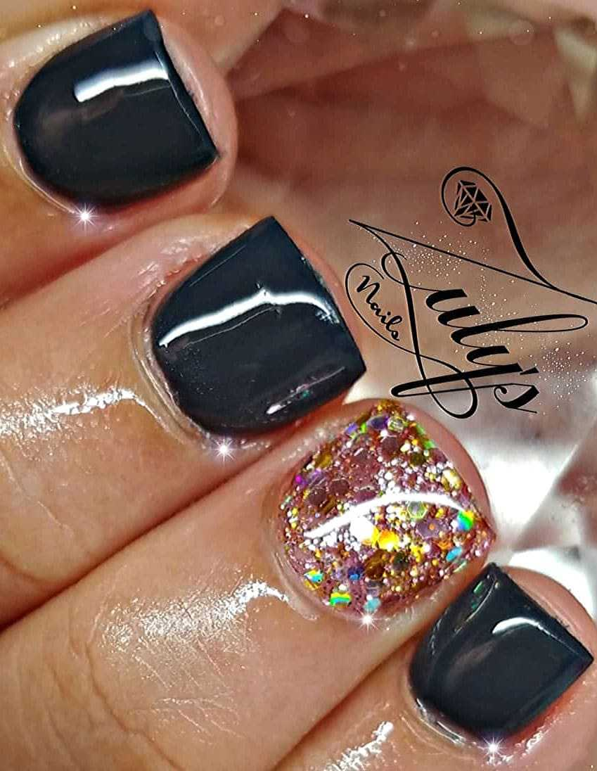 Black Square Nails Design